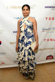Freida Pinto went for some tropical flair with this tiered foliage-print halter gown by Johanna Ortiz at the 2017 Maui Film Festival.