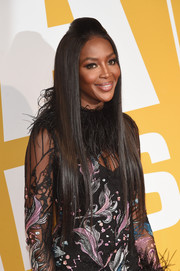 Naomi Campbell stuck to her signature straight, waist-length tresses when she attended the 2017 NBA Awards. The pompadour top made for a more interesting finish.