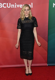 Olivia Taylor Dudley went for a classic embroidered LBD when she attended the 2017 NBCUniversal Winter Press Tour.