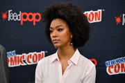 Sonequa Martin-Green kept her hair natural during New York Comic Con 2017.