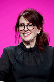 Megan Mullally was rocker-chic with her loose, messy ponytail at the 2017 Summer TCA Tour.