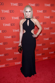 Lindsey Vonn turned heads in a black multi-cutout gown by Jovani at the 2017 Time 100 Gala.