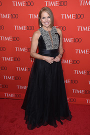 Katie Couric got glam in a black gown with a patterned bib for the 2017 Time 100 Gala.