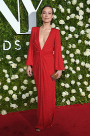 Olivia Wilde was a smoldering diva in a beaded red Michael Kors gown with a down-to-the-navel neckline at the 2017 Tony Awards.