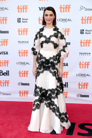 Rachel Weisz looked regal in a white Dolce & Gabbana gown with black lace accents at the TIFF premiere of 'Disobedience.'
