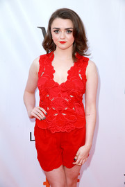 Maisie Williams punctuated her red look with a dark mani for the TIFF premiere of 'Mary Shelley.'