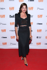 Selma Blair channeled the '40s in this black and silver Bottega Veneta midi dress with a slashed waist at the TIFF premiere of 'Mom and Dad.'