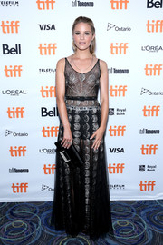 Dianna Agron jumped on the sheer bandwagon in this metallic-embroidered gown by Christian Dior at the TIFF premiere of 'Novitiate.'
