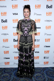 Margaret Qualley was boho-glam in an embroidered tricolor gown by Valentino at the TIFF premiere of 'Novitiate.'