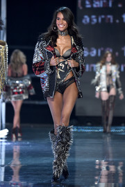 Cindy Bruna brought some toughness to the Victoria's Secret runway with this mega-studded biker jacket.