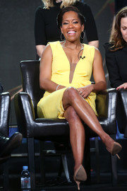 Regina King was a sunny spot in her lemon-yellow cocktail dress at the 2017 Winter TCA Tour.
