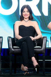 Lucy Hale looked foxy in a strapless corset jumpsuit by Colton Dane at the 2017 Winter TCA Tour.