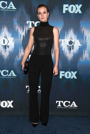 Leighton Meester was cool and edgy in a David Koma jumpsuit with a studded bodice at the 2017 Winter TCA Tour Fox All-Star Party.