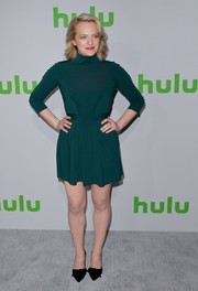 Elisabeth Moss chose a high-neck green mini dress for the 2017 Hulu TCA Winter Press Tour.