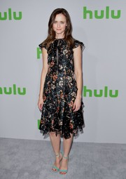 Alexis Bledel donned a pair of turquoise ankle-strap sandals for a bright spot to her look.