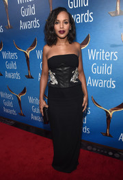 Kerry Washington went for sultry glamour in a strapless black corset gown by Sally LaPointe at the Writers Guild Awards.