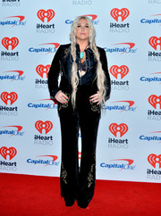 Kesha donned a black velvet pantsuit with gold embroidery for night 2 of the 2017 iHeartRadio Music Festival.
