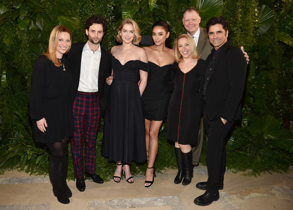 More Pics of Shay Mitchell Off-the-Shoulder Dress (1 of 18) - Shay Mitchell Lookbook - StyleBistro [social group,event,formal wear,little black dress,suit,penn badgley,shay mitchell,peter olsen,elizabeth lail,r,john stamos,l-r,new york city,a e,2nd l]