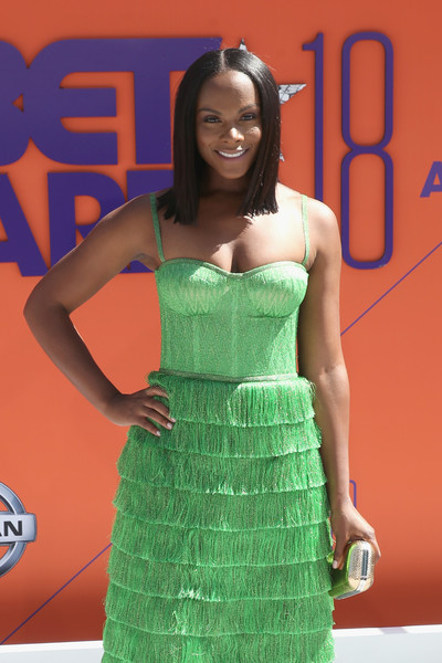 More Pics of Tika Sumpter Strappy Sandals (1 of 3) - Heels Lookbook - StyleBistro [clothing,green,dress,fashion,cocktail dress,carpet,premiere,strapless dress,flooring,red carpet,arrivals,tika sumpter,bet awards,microsoft theater,los angeles,california]
