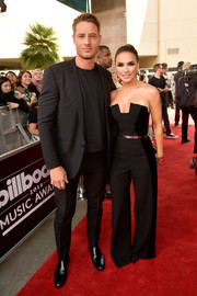 Chrishell Stause looked fierce in a strapless jumpsuit by Black Halo at the 2018 Billboard Music Awards.