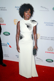 Viola Davis went for modern elegance in an asymmetrical floral-embroidered gown by Bibhu Mohapatra at the 2018 British Academy Britannia Awards.