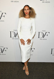 Leona Lewis was minimalist-elegant in a long-sleeve white sheath dress by Diane von Furstenberg at the 2018 DVF Awards.