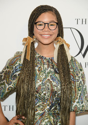 Storm Reid attended the 2018 DVF Awards wearing her hair in pigtail braids.