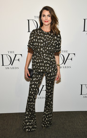 Keri Russell paired her blouse with animal-print bell-bottoms for a cute matchy-matchy look.