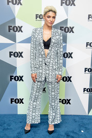 Jessica Szohr attended the 2018 Fox Network Upfront wearing a printed pantsuit by Smythe.