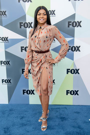 Taraji P. Henson chose a printed wrap dress by Altuzarra for the 2018 Fox Network Upfront.