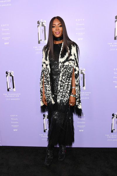 Naomi Campbell shimmered in a black sequin dress by Alexander McQueen at the 2018 Fragrance Foundation Awards.