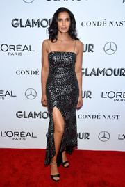 Padma Lakshmi went for simple styling with black ankle-strap platforms.