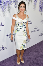 Danica McKellar was sweet and stylish in a floral cold-shoulder dress by Karen Millen at the 2018 Hallmark Channel Summer TCA event.