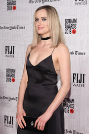 Taylor Schilling bared her infinity symbol tattoo when she wore this backless slip dress at the 2018 Gotham Independent Film Awards.