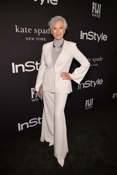 Maye Musk looked cool in a white bell-bottom pantsuit by Jonathan Simkhai at the 2018 InStyle Awards.
