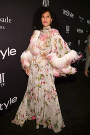 Tracee Ellis Ross was diva-glam in a Giambattista Valli Couture floral gown with feather detailing at the 2018 InStyle Awards.