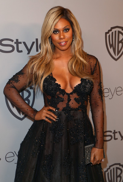 Laverne Cox paired a Blumera beaded clutch with a sheer-bodice gown for the Warner Bros. and InStyle Golden Globes after-party.