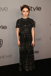 Kaitlyn Dever looked exquisite in a black Valentino gown with multi-patterned silver beading at the Warner Bros. and InStyle Golden Globes after-party.