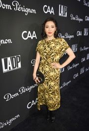 Constance Wu opted for a printed midi dress by Victoria Beckham when she attended the L.A. Dance Project Gala.