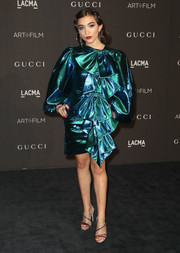 Rowan Blanchard was '80s-glam in a metallic blue Gucci dress with bow embellishments and oversized sleeves at the 2018 LACMA Art + Film Gala.
