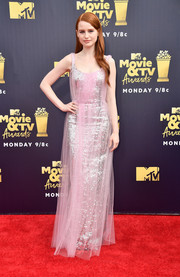 Madelaine Petsch looked radiant in a silver sequin gown with a pink tulle overlay at the 2018 MTV Movie & TV Awards.