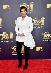 Kris Jenner donned a half-peplum blazer by Off-White for the 2018 MTV Movie & TV Awards.