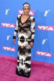 Tiffany Haddish flashed plenty of skin in a sheer monochrome gown by Naeem Khan at the 2018 MTV VMAs.