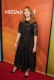 Christina Hendricks looked dainty in an ankle-length black lace dress at the 2018 NBCUniversal Winter Press Tour.