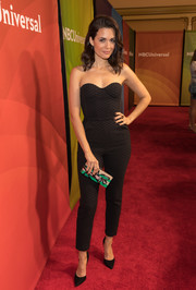 Torrey Devitto injected some color with an embellished, striped box clutch.