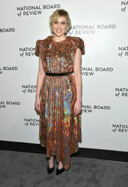 Greta Gerwig radiated in an iridescent sequin dress by Gucci at the 2018 National Board of Review Awards Gala.