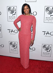 Regina King cut a svelte silhouette in a pink sequined column dress by Michael Kors at the New York Film Critics Circle Awards.