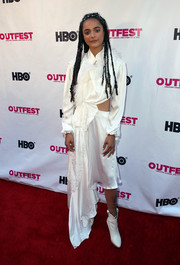 Sasha Lane looked kooky in an asymmetrical white cutout dress by Preen at the 2018 Outfest Los Angeles LGBT Film Festival.