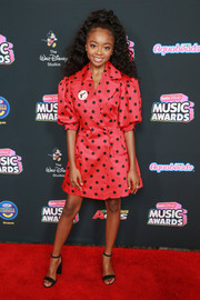 Skai Jackson hit the 2018 Radio Disney Music Awards wearing a Marianna Senchina polka-dot blazer dress with puffed sleeves.