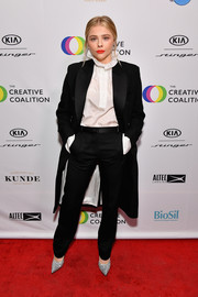 Chloe Grace Moretz's silver Victoria Beckham pumps added just the right amount of sparkle.